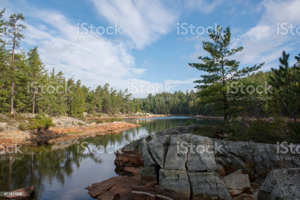 Sunrise on the Lakes of Temagami Area of Northern Ontario stock photo