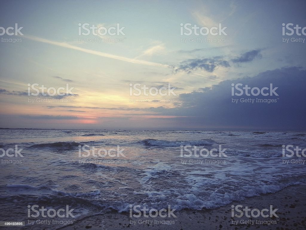 Sunrise on the longest day, Suffolk stock photo