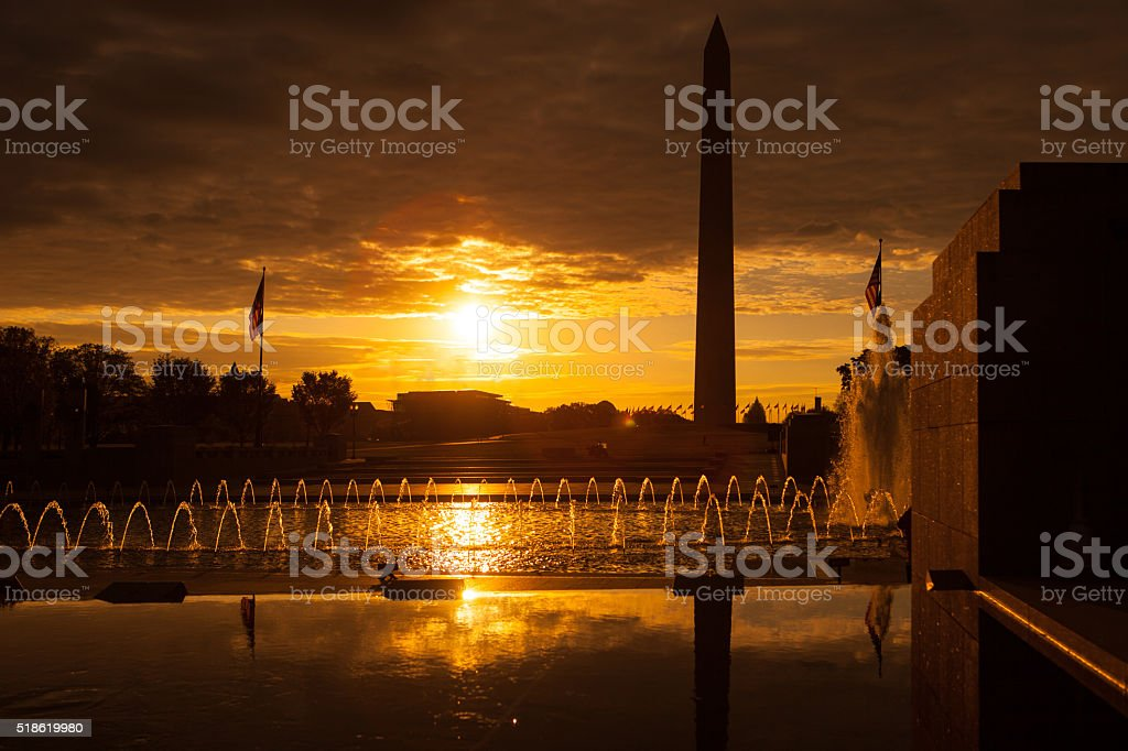 Sunrise on the mall in Washington DC. stock photo