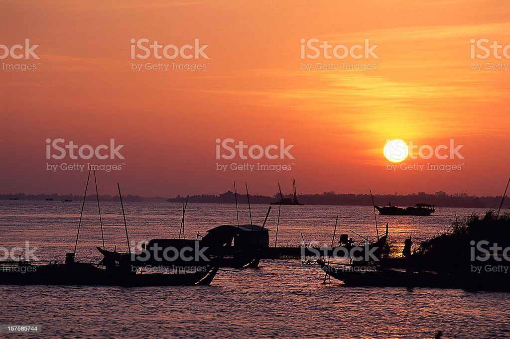 Sunrise on the Mekong river in Cambodia stock photo
