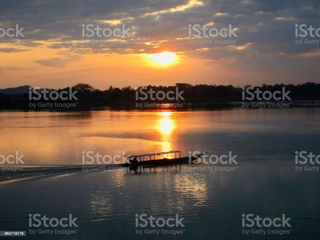 Sunrise on the Mekong River (4000 Islands, Don Khong, Laos) stock photo
