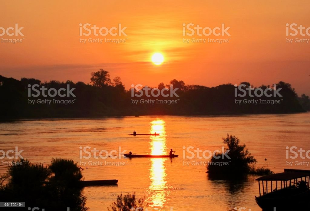 Sunrise on the Mekong River (4000 Islands, Don Det, Laos) stock photo
