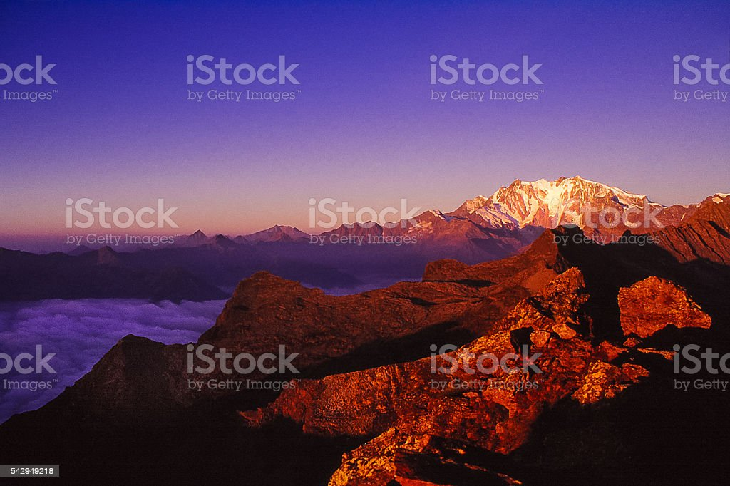 Sunrise on the Monte Mosa glacier stock photo