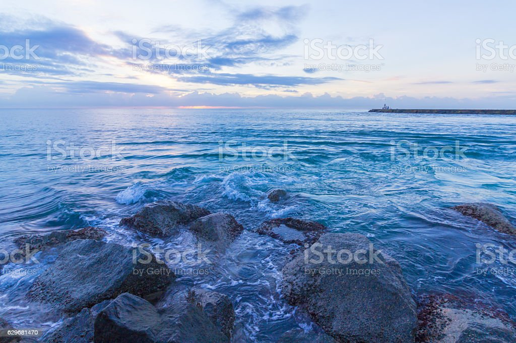Sunrise on the ocean stock photo