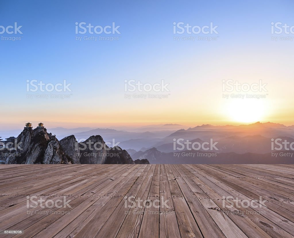 sunrise on the peak, laojun mountain at henan china stock photo