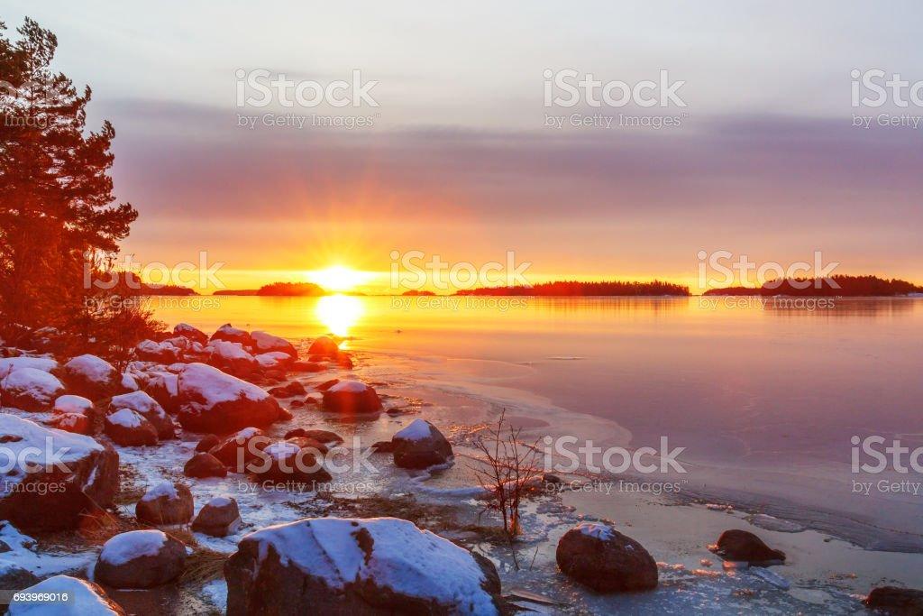 Sunrise on the peninsula of Keilalahti in Helsinki, Finland stock photo