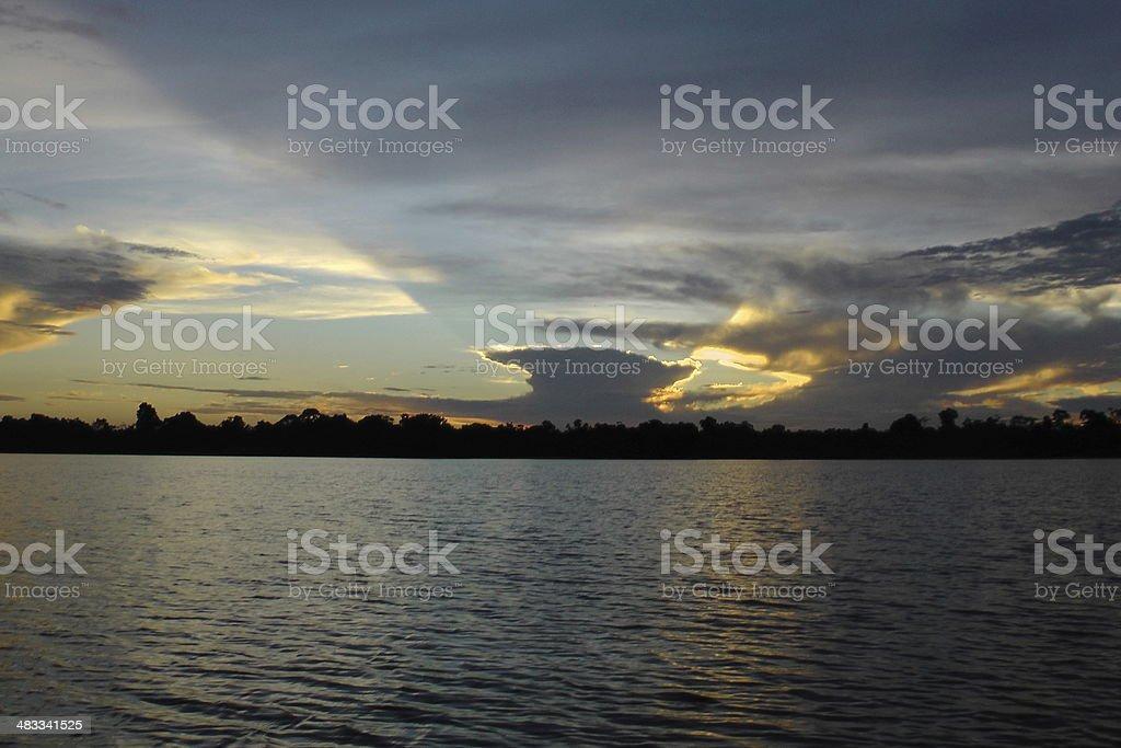 Sunrise on the Rio Negro, Amazon, Brazil stock photo