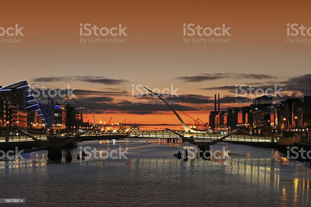 Sunrise On The River Liffey stock photo