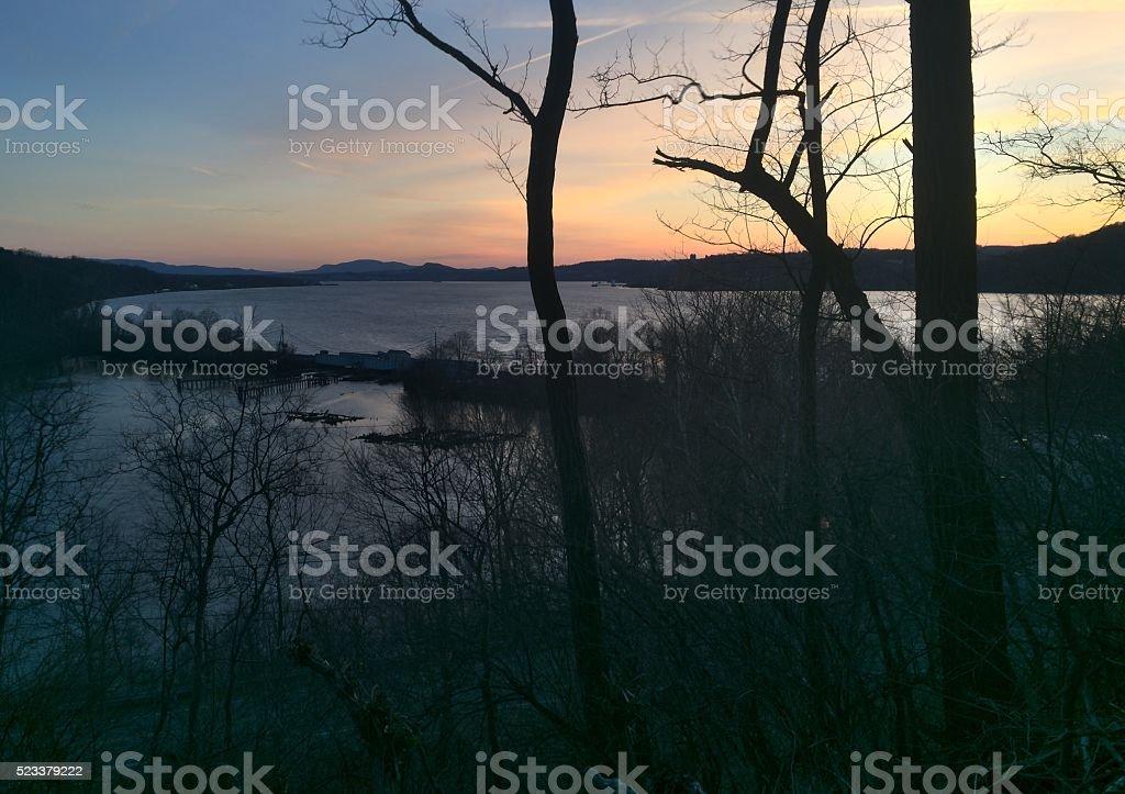Sunrise on the River stock photo
