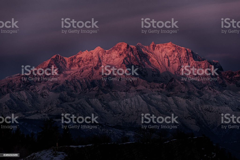 Sunrise on the top of Monte Rosa stock photo