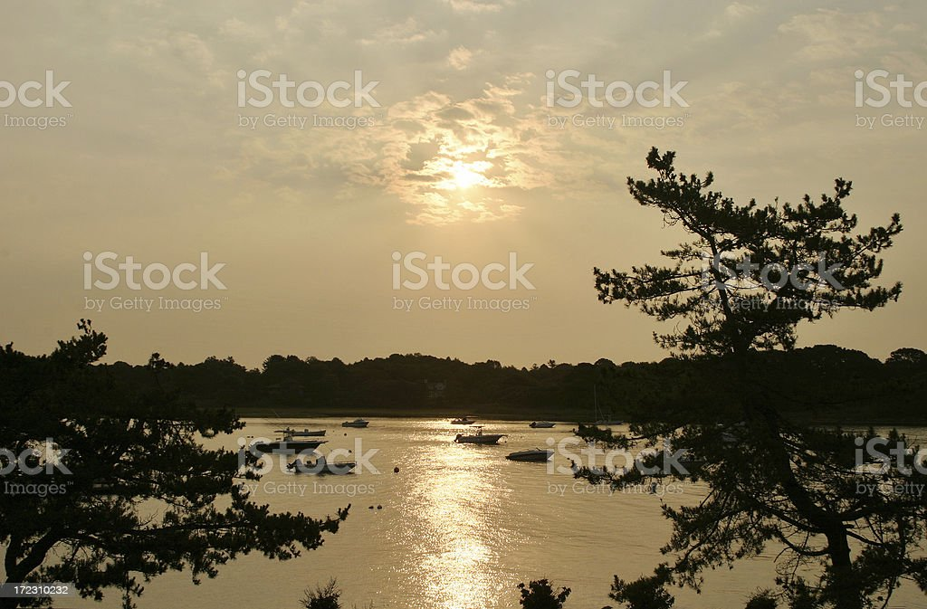 Sunrise on the Water - Mystic Seaport, Connecticut royalty-free stock photo