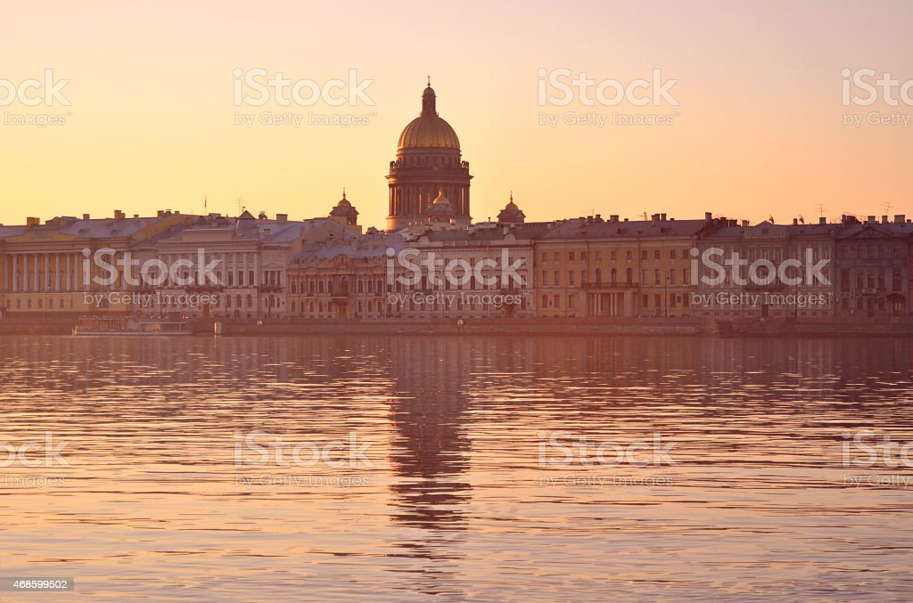 Sunrise on the waterfront of St. Petersburg stock photo