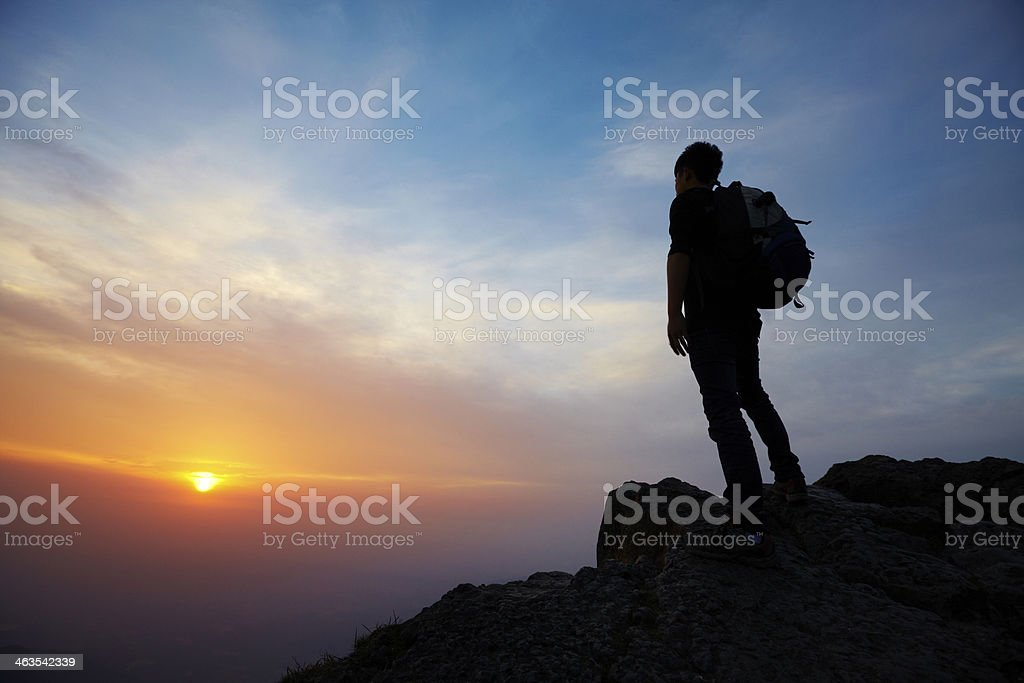 sunrise on top of mountain royalty-free stock photo