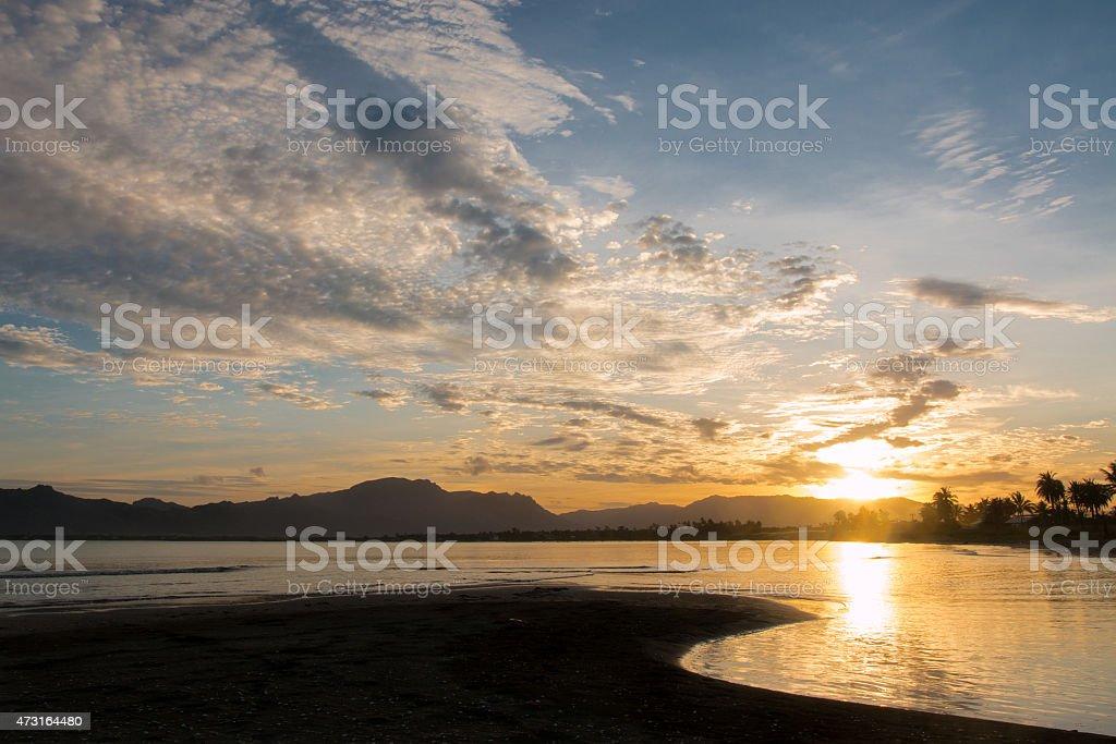 Sunrise on Vita Levu Island, Fiji stock photo
