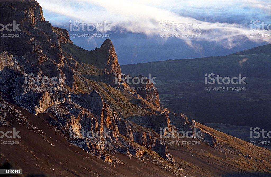 Sunrise on Volcanic Mountaintop stock photo