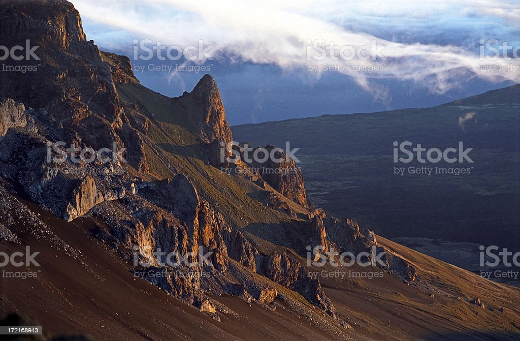 Sunrise on Volcanic Mountaintop stock photo