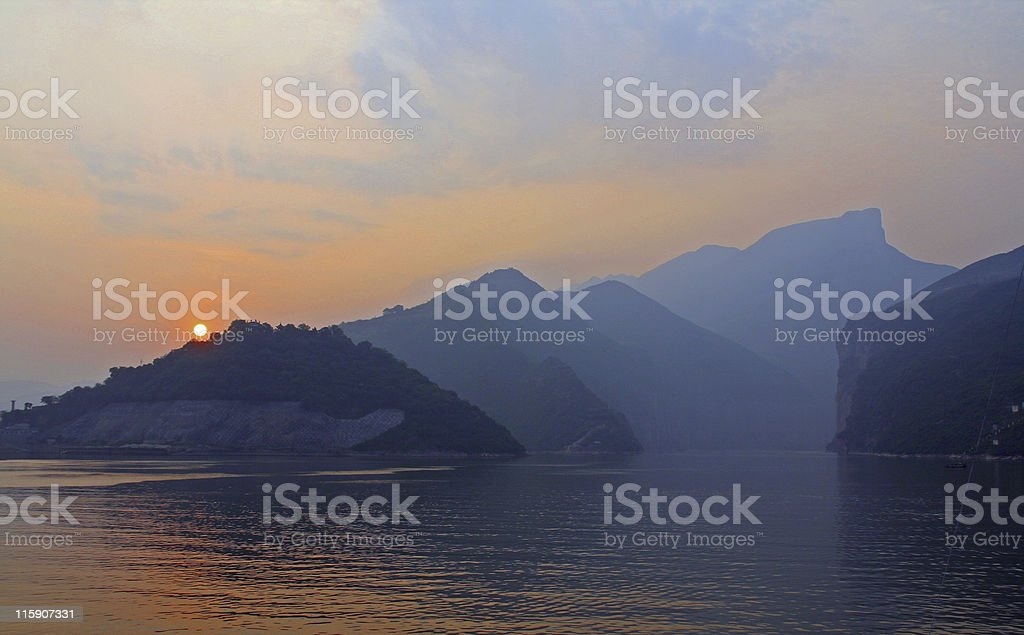 sunrise on Yangtze river stock photo