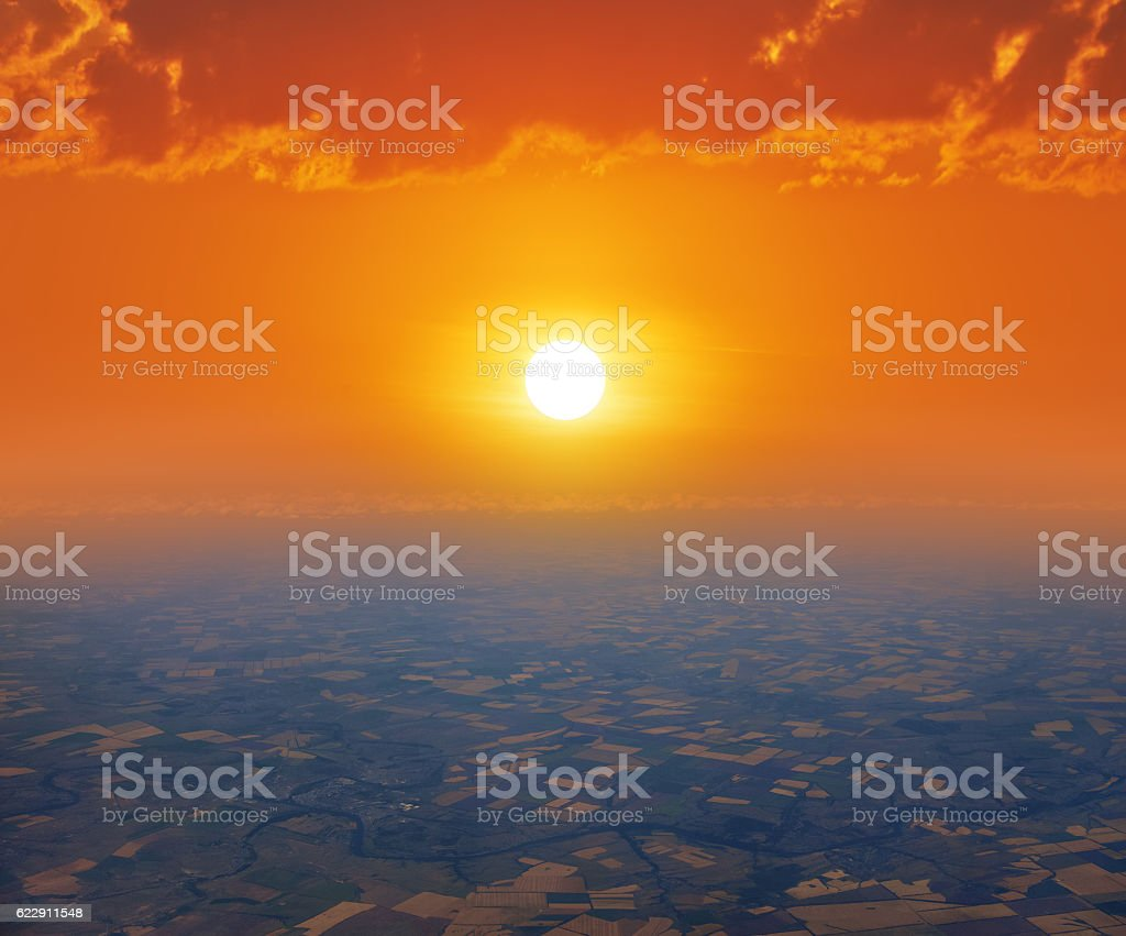 sunrise or sunset, bird's-eye view stock photo