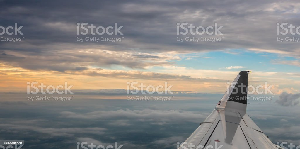 Sunrise outside of AIrplane stock photo