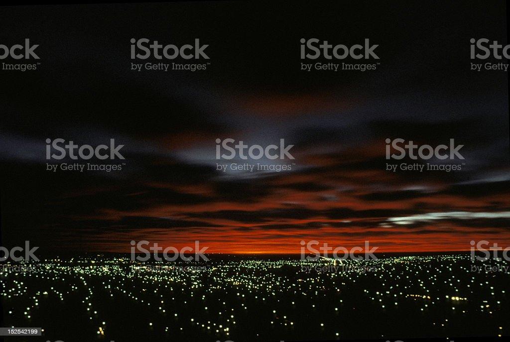 Sunrise over a City stock photo