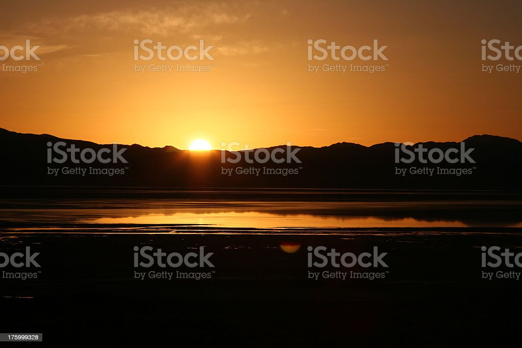 Sunrise over a flooded 'Owens Dry Lake' stock photo