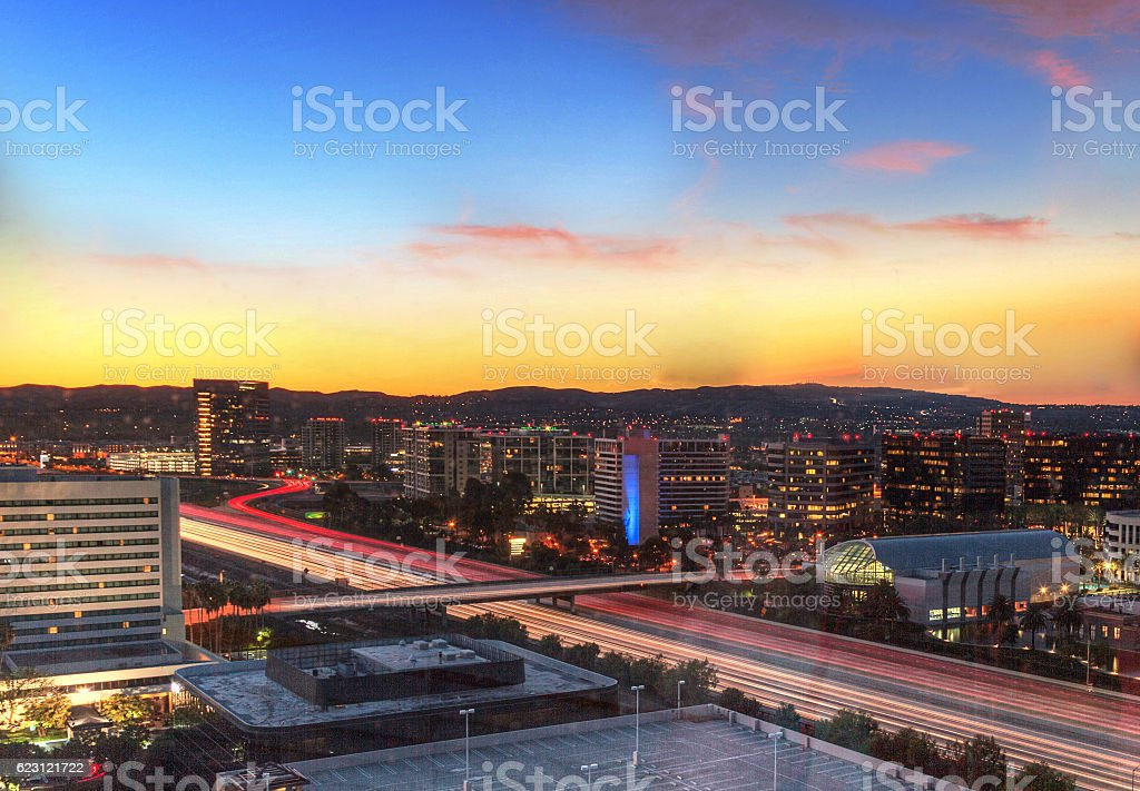Sunrise over a highway in Irvine, California stock photo