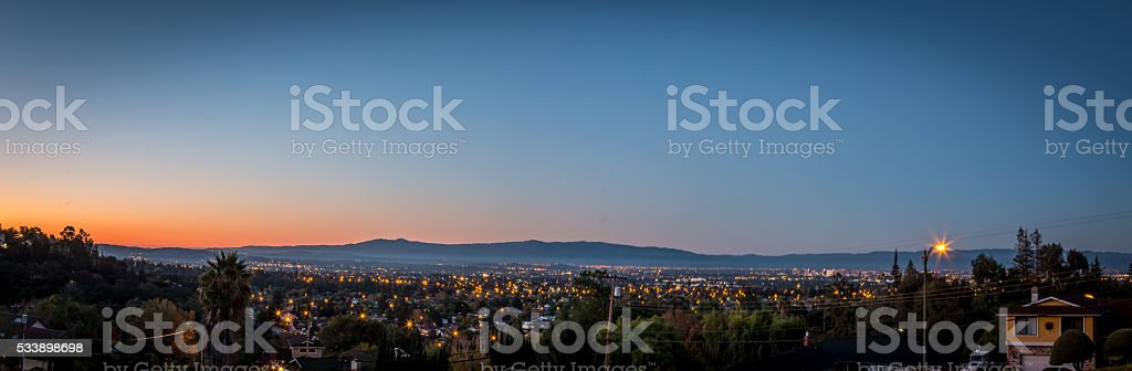 Sunrise over a Panoramic of Silicon Valley stock photo