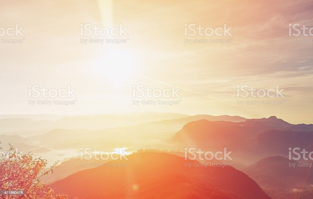 Sunrise over Adam's peak, Sri Lanka stock photo