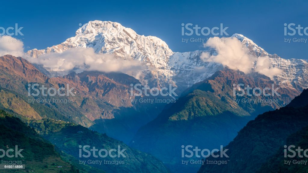 Sunrise over Annapurna Range, Nepal stock photo
