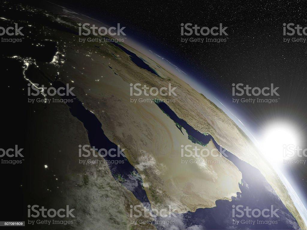 Sunrise over Arabian peninsula stock photo