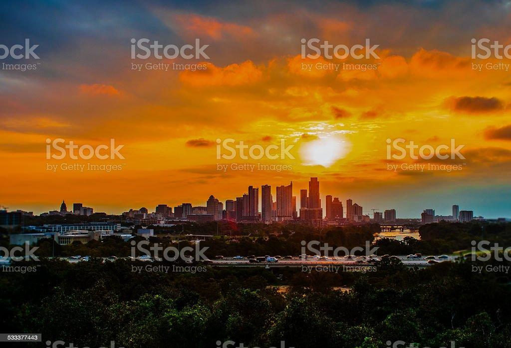 Sunrise over Austin, Texas, USA Skyline Keep Best City TX stock photo