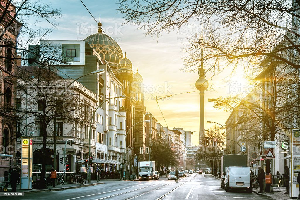 sunrise over Berlin Oranienburger Strasse with Tv-Tower and Synagogue stock photo