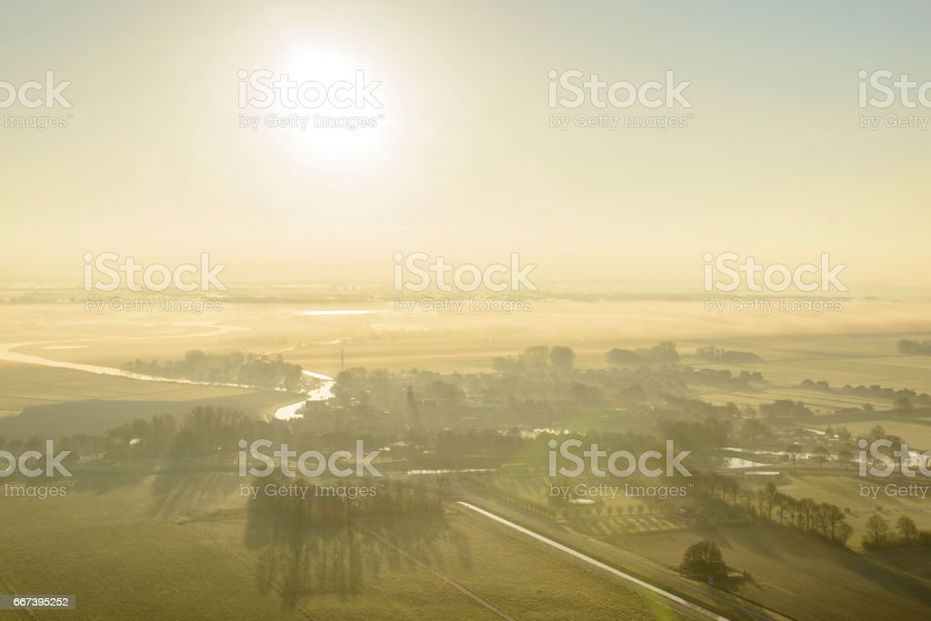 Sunrise over Blokzijl city in Overijssel The Netherlands from above stock photo