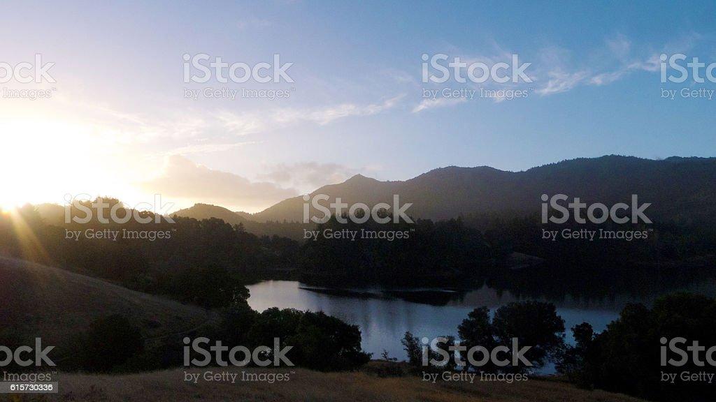 Sunrise over Bon Tempe Lake stock photo