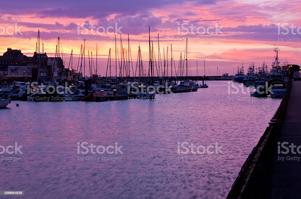 Sunrise over Bridlington Harbour stock photo