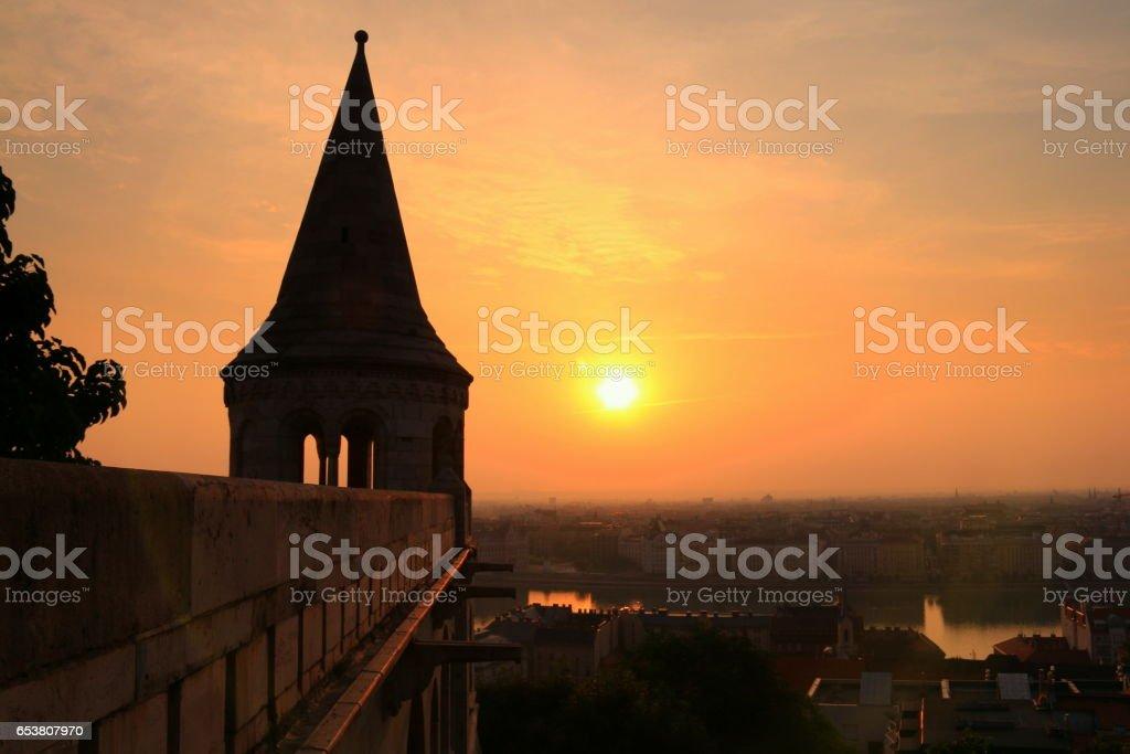Sunrise over Budapest stock photo