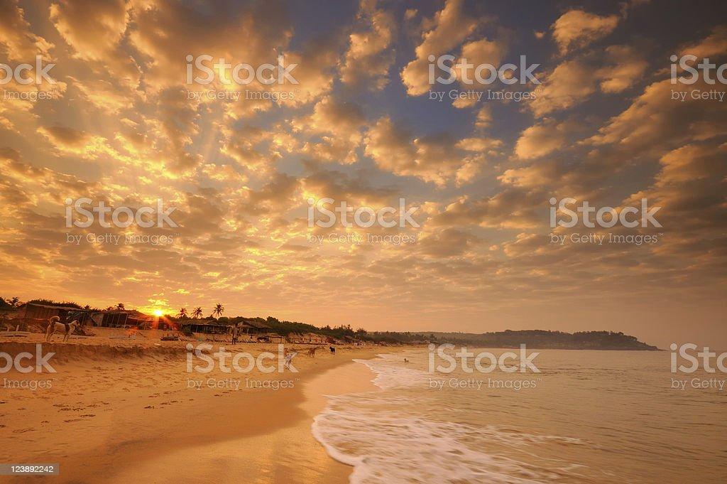 Sunrise over Candolim Beach in Goa, India stock photo