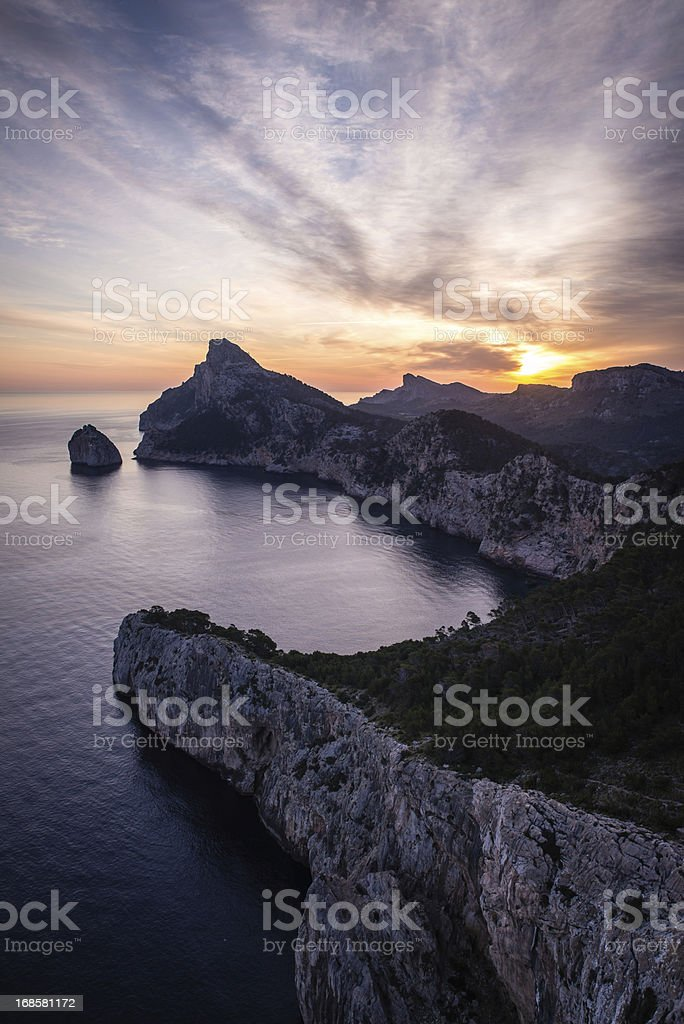 Sunrise over Cap de Formentor in Majorca royalty-free stock photo