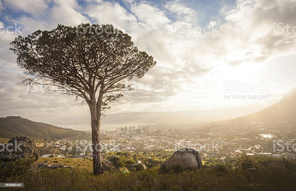 Sunrise over Cape Town South Africa stock photo