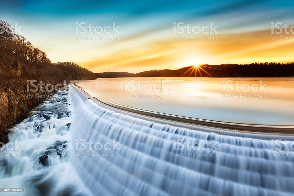 Sunrise over Croton Dam, NY stock photo