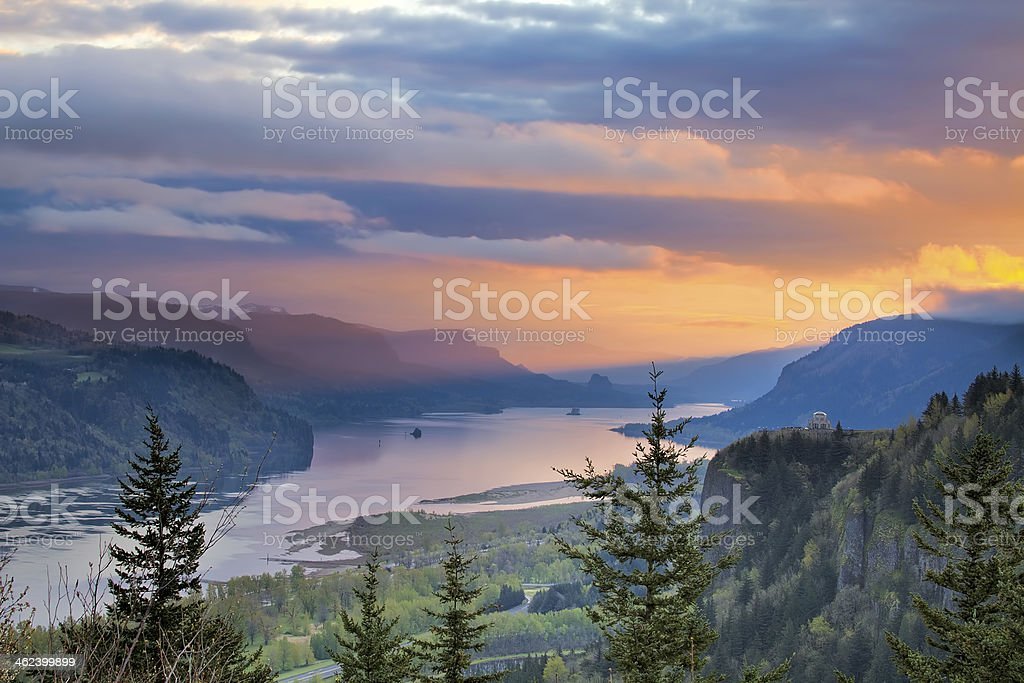 Sunrise Over Crown Point at Columbia River Gorge stock photo