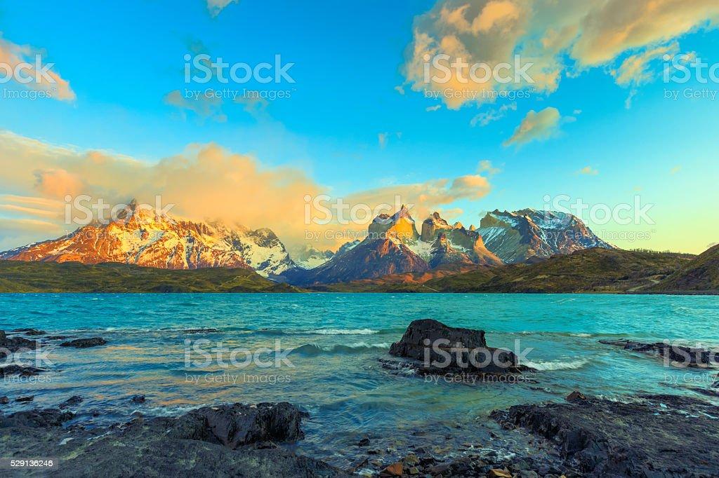 Sunrise over Cuernos del Paine– Patagonia, Chile stock photo