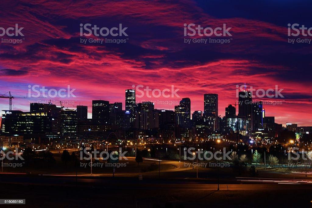 Sunrise Over Denver stock photo
