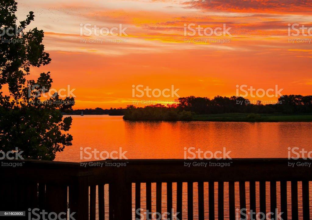 Sunrise Over Detroit River stock photo
