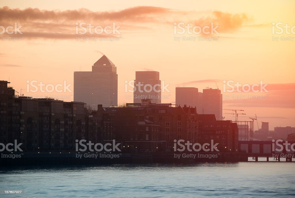 Sunrise over Docklands and Canary Wharf, London stock photo