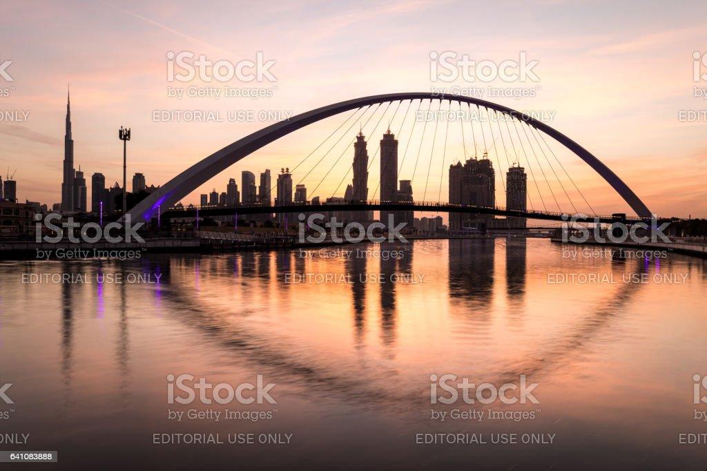 Dubai, UAE - Jan 27, 2017: Sunrise over Dubai Downtown. stock photo