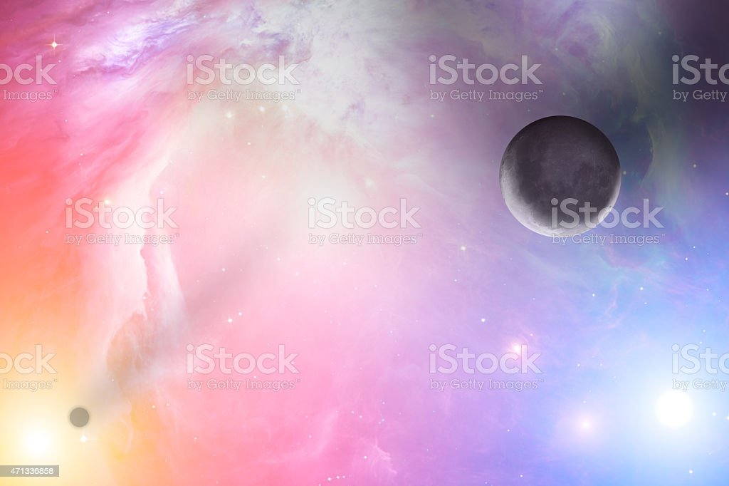 Sunrise over earth-like horizon with galaxy in the background stock photo