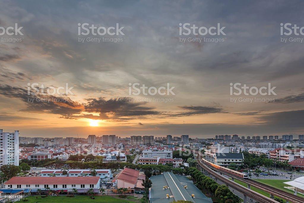 Sunrise over Eunos Residential Area stock photo