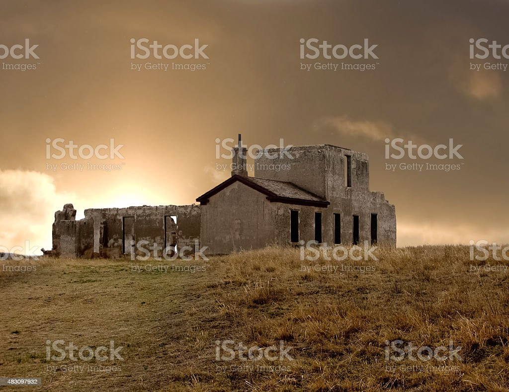 Sunrise Over Fort Laramie Hospital Ruins stock photo