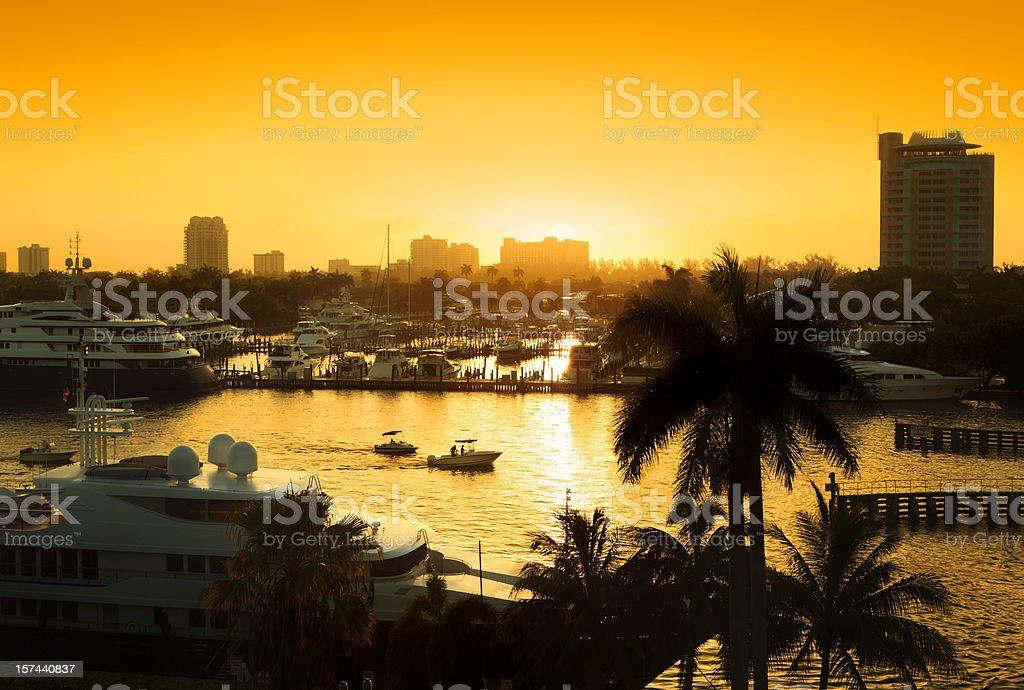 Sunrise Over Fort Lauderdale stock photo